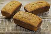 three loafs of freshly baked gluten free bread prepared with coconut and almond flour, flaxseed meal