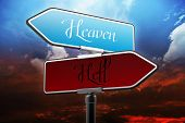stock photo of jesus sign  - Heaven and Hell Signs - JPG