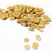 A fortune in gold ingots and coins