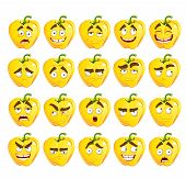Vector cute cartoon yellow Bulgarian pepper smile with many expr
