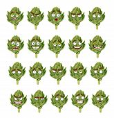green fresh useful eco-friendly artichoke smiles emotions