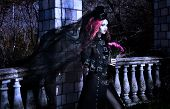 image of night gown  - Young goth girl with a red hair - JPG
