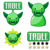 stock photo of troll  - Set of badges and icons for internet trolls - JPG