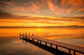 An image of a sunrise at the Starnberg Lake in Germany