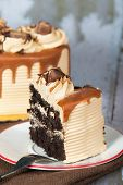 Chocolate caramel cream cake