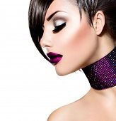 Holiday Woman Make up. Fashion Beauty Fashion Girl. Gorgeous Woman Portrait. Stylish Fringe Haircut