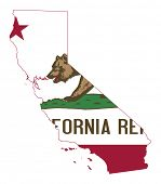 State of California flag map isolated on a white background, U.S.A.