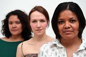 foto of black american  - image of three women of different racial backgrounds - JPG