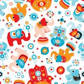 Seamless retro elephant kids illustration with arabic hamsa details pattern wallpaper background in vector