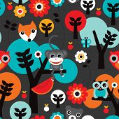 Seamless retro jungle monkey and animals boys adventure background pattern in vector