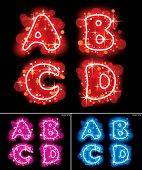 Raster version of vector images of neon shining red, pink and blue alphabet capital letters with sta