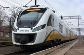 WEGLINIEC, POLAND - DEC 1, 2013: Polish train Newag Impuls at station in Wegliniec, Poland
