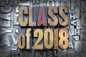 image of senior prom  - Class of 2018 written in vintage letterpress type - JPG