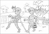 Mummies Coloring Page