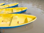 Fiberglass Rowing Boats On Water