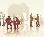 Editable vector silhouettes of an elephant in a busy office of people with reflections