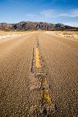 Blue Sky Worn Mountain Road Desert Travel Asphalt