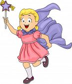 Illustration of a Little Girl Wearing a Cape Wielding a Magic Wand