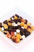 Dried fruits in a dish