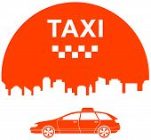 pic of cabs  - icon with city and cab  - JPG