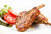 picture of lamb  - grilled lamb chops with Vegetables on white background - JPG