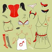 Vector set, woman fashion clothes