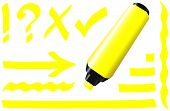 stock photo of fluorescent  - Yellow fluorescent marker  - JPG