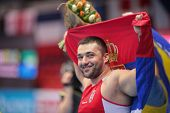 GOTHENBURG, SWEDEN - MARCH 1 Asmir Kolasnic (Serbia) wins the men's shot put final during the Europe