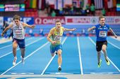 GOTHENBURG, SWEDEN - MARCH 2 Petter Olson (Sweden) places 2nd in the men's 60m pentathlon event duri