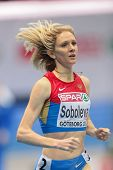 GOTHENBURG, SWEDEN - MARCH 1 Yelena Soboleva (RUS) places 3rd in the qualification of the women's 1500m event during the European Athletics Indoor Championship on March 1, 2013 in Gothenburg, Sweden.