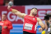 GOTHENBURG, SWEDEN - MARCH 1 Asmir Kolasnic (Serbia) wins the men's shot put final during the European Athletics Indoor Championship on March 1, 2013 in Gothenburg, Sweden.