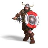 Fantasy Dwarf With Spike Club And Shield