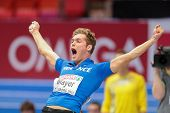 GOTHENBURG, SWEDEN - MARCH 2 Kevin Mayer (France)  wins the men's pentathlon shot put event during the European Athletics Indoor Championship on March 2, 2013 in Gothenburg, Sweden.