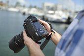 Closeup of professional photo camera