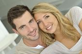 Portrait of cheerful in love couple