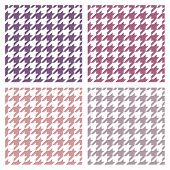Houndstooth vector seamless colorful pattern set. Traditional Scottish plaid fabric collection
