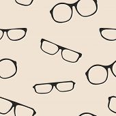 Hipster glasses seamless vector pattern or background. Black thick holder retro illustration