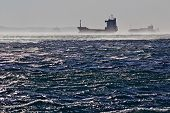Container ships in the windstorm