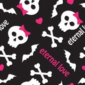 stock photo of emo  - seamless pattern with skulls - JPG