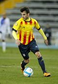 BARCELONA - DEC, 30: Catalan player Cesc Fabregas of FC Barcelona in action during the friendly match between Catalonia and Cape Verde at Olympic Stadium on December 30, 2013 in Barcelona, Spain