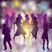 stock photo of rave  - background with dancing people - JPG