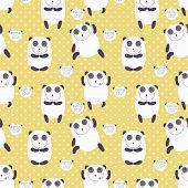 Cartoon pattern with cute panda guru.