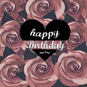 vector happy birthday card with red  flowers.