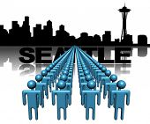 Lines of people with Seattle skyline illustration