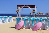image of pergola  - Beach wedding ceremony set up in Cabo San Lucas - JPG
