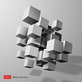 Abstract composition of white 3d cubes.