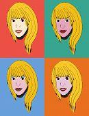 Girl's face, pop art
