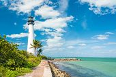 stock photo of lighthouse  - Famous lighthouse at Cape Florida in the south end of Key Biscayne  - JPG