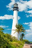 Famous lighthouse at Cape Florida in the south end of Key Biscayne , Miami