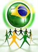 Soccer Ball And Human Chain In Green And Yellow